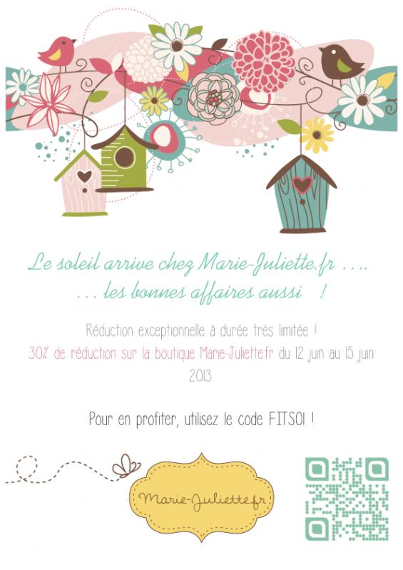 Affiche promotion Marie-Juliette du 12 au 15 06 2013