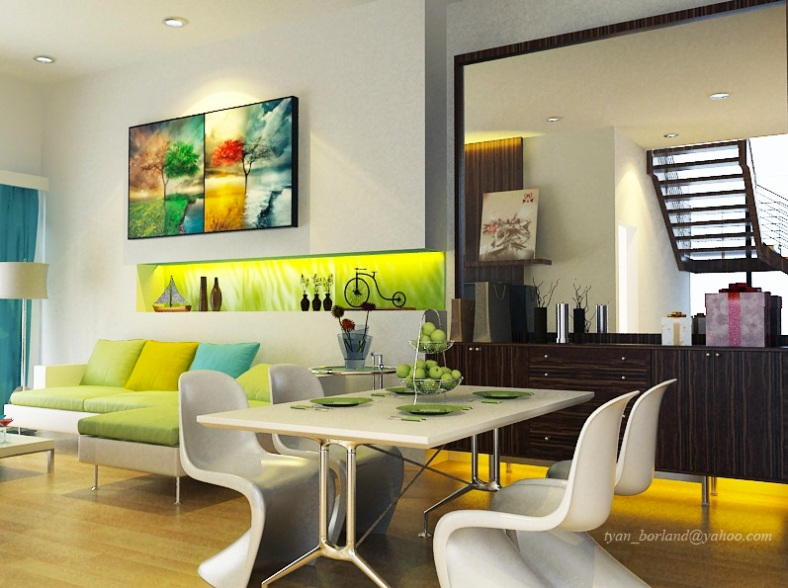 Classy-Modern-White-Based-Dining-Rooms-Image-01-Lime-Green-White-Turquoise-Luxurious-Living-Dining-Room-Decor
