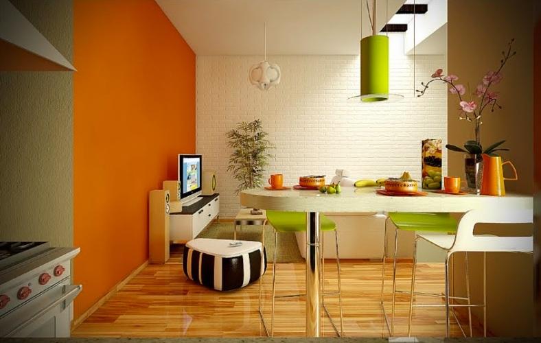 Classy-Modern-White-Based-Dining-Rooms-Image-03-Orange-Lime-Green-White-Splendid-Dining-Living-Room-Ideas