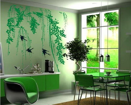Cool-Green-Abstract-Birds-Tree-Wall-Murals-Stickers-for-Modern-Dining-Room-Decorating-Designs-Ideas