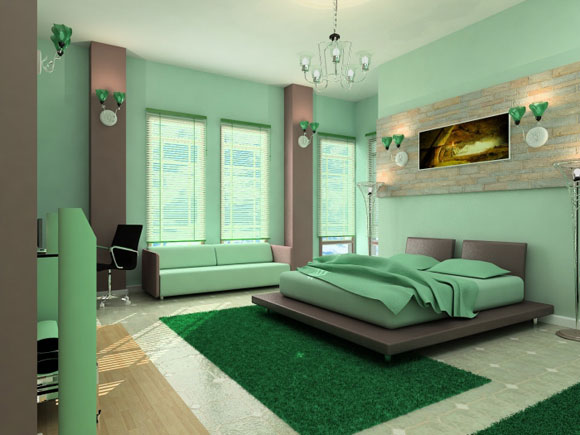 Cool-green-bedrom-interior-decoration-photo