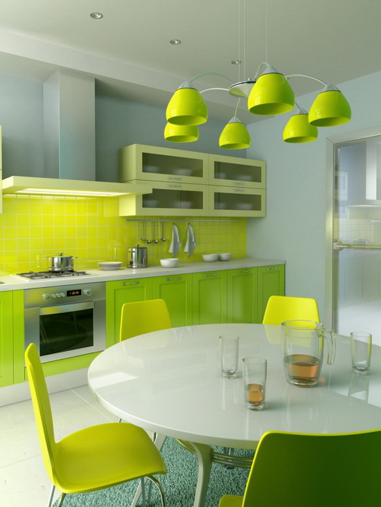 Kitchen-Dining-Room-in-Green-and-Yellow-Decoration