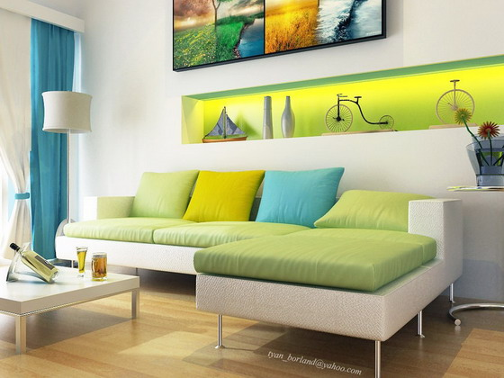 Modern-Aqua-Living-Room-Decoration-in-White-and-Green