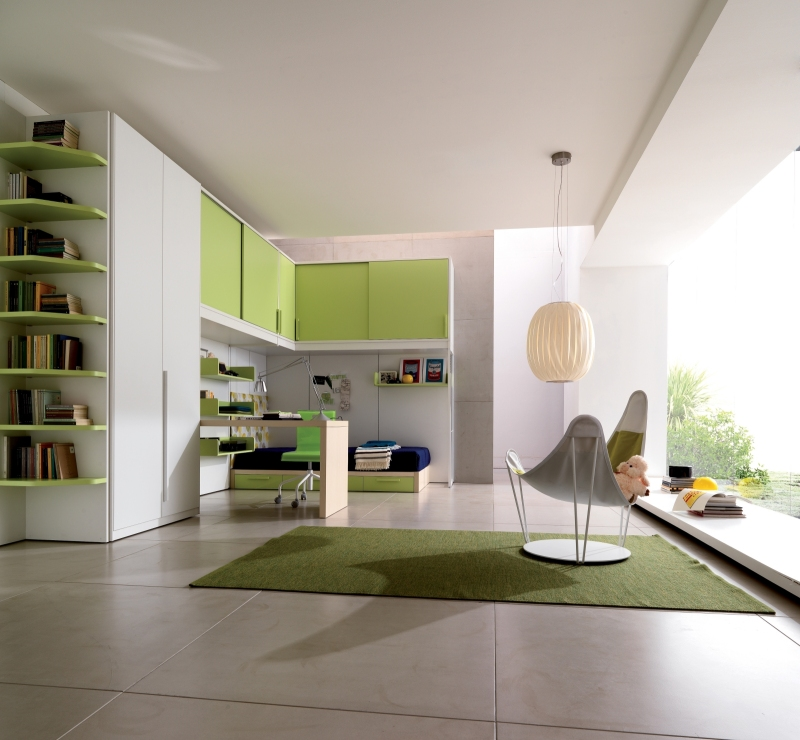 retro-green-teen-bedroom-interior