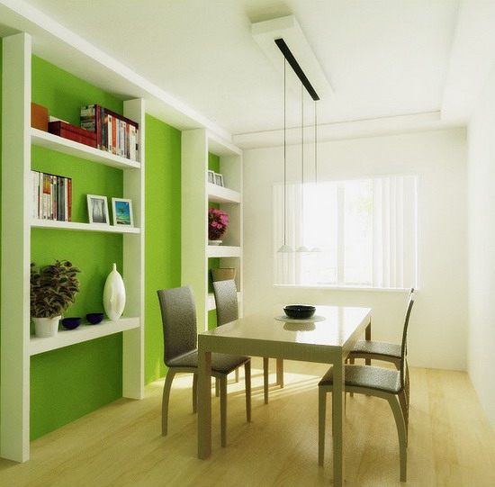 Small-Dining-Room-Design-with-Green-Wall-Decoration