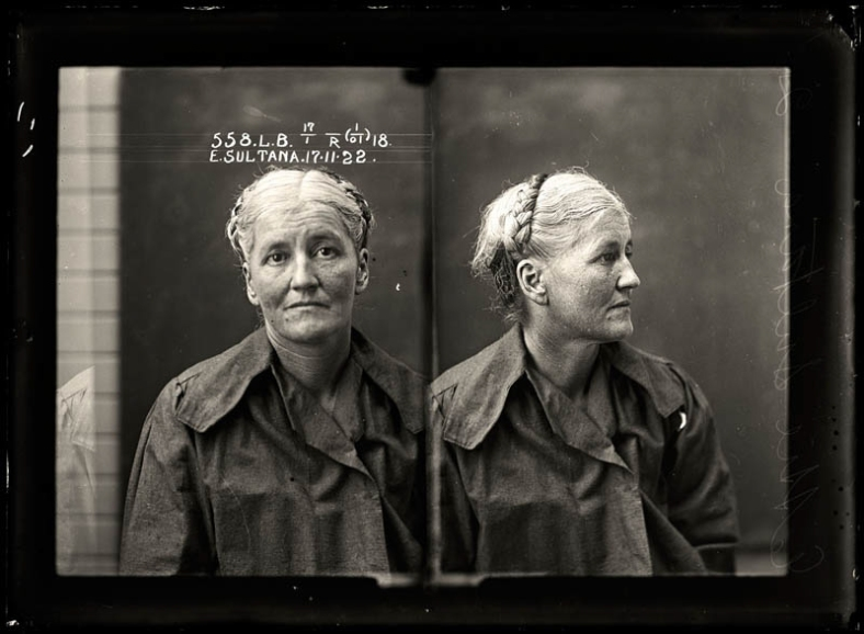 Ettie Sultana, criminal record number 558LB, 17 November 1922. State Reformatory for Women, Long Bay.