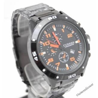 montre-curren-m8021-acier-noir-orange