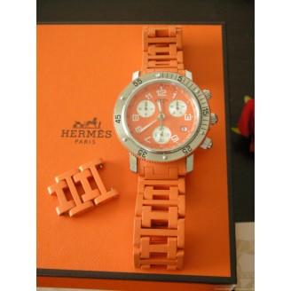 montre-hermes-clipper-plongee-chrono-caoutchouc-orange