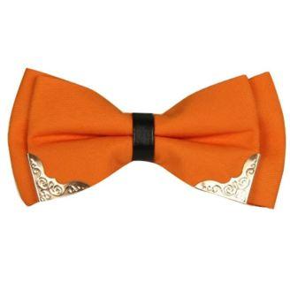 nœud-papillon-orange-unis-avec-bout-metalique-pour
